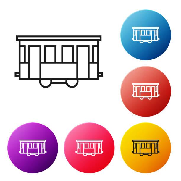 ilustrações de stock, clip art, desenhos animados e ícones de black line old city tram icon isolated on white background. public transportation symbol. set icons colorful circle buttons. vector illustration - eletrico lisboa