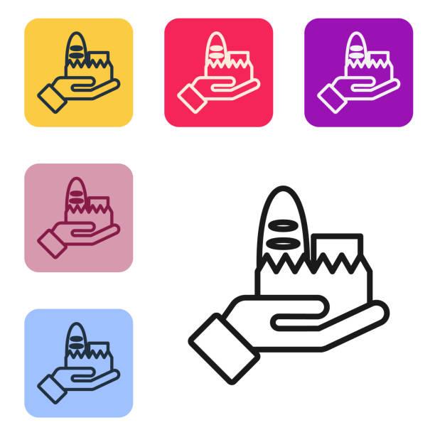black line online-bestellung und fast-food-lieferung symbol isoliert auf weißem hintergrund. legen sie symbole in farbigen quadratischen schaltflächen fest. vektor-illustration - ein mann allein stock-grafiken, -clipart, -cartoons und -symbole