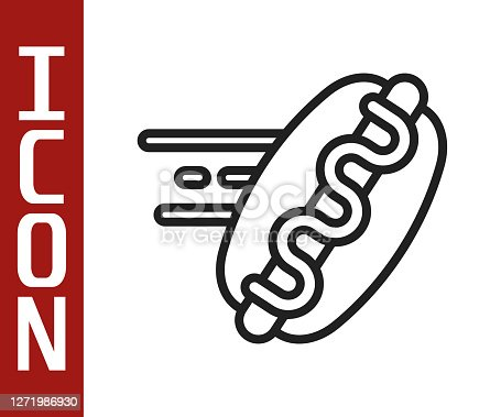 istock Black line Online ordering and hotdog sandwich icon isolated on white background. Sausage icon. Fast food sign. Vector 1271986930