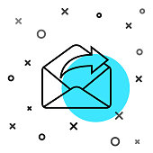 istock Black line Outgoing mail icon isolated on white background. Envelope symbol. Outgoing message sign. Mail navigation button. Random dynamic shapes. Vector Illustration 1271392165