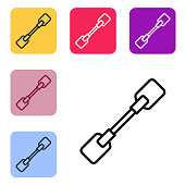 Black line Paddle icon isolated on white background. Paddle boat oars. Set icons in color square buttons. Vector Illustration