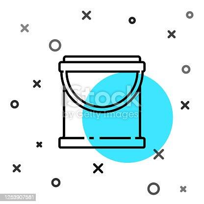 istock Black line Paint bucket icon isolated on white background. Random dynamic shapes. Vector Illustration 1253907581