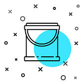 istock Black line Paint bucket icon isolated on white background. Random dynamic shapes. Vector Illustration 1253907581