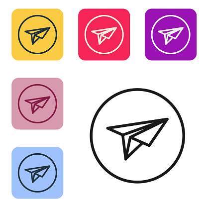 Black line Paper plane icon isolated on white background. Paper airplane icon. Messenger concept. Set icons in color square buttons. Vector Illustration