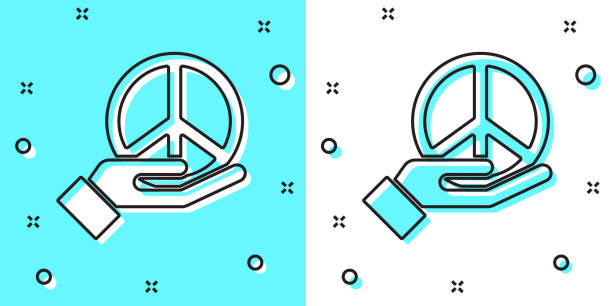 ilustrações, clipart, desenhos animados e ícones de linha preta ícone da paz isolado no fundo verde e branco. símbolo hippie da paz. formas dinâmicas aleatórias. vetor - desenhos aleatórios e à mão livre