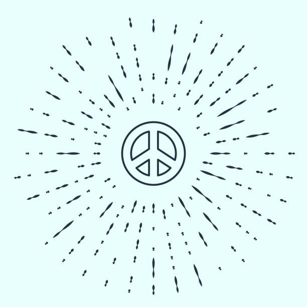 ilustrações, clipart, desenhos animados e ícones de linha preta ícone da paz isolado em fundo cinza. símbolo hippie da paz. pontos aleatórios do círculo abstrato. ilustração vetorial - desenhos aleatórios e à mão livre