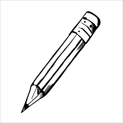 Black line pencil sketch isolated on white background. School or office supplies.