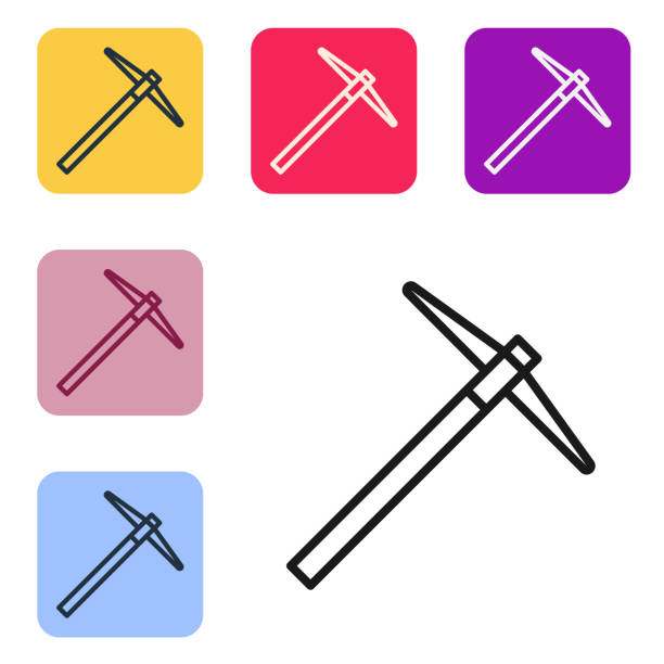 Black line Pickaxe icon isolated on white background. Set icons in color square buttons. Vector Illustration Black line Pickaxe icon isolated on white background. Set icons in color square buttons. Vector Illustration mattock stock illustrations
