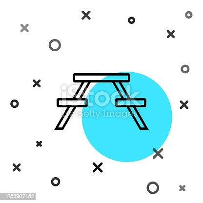 Black line Picnic table with benches on either side of the table icon isolated on white background. Random dynamic shapes. Vector Illustration