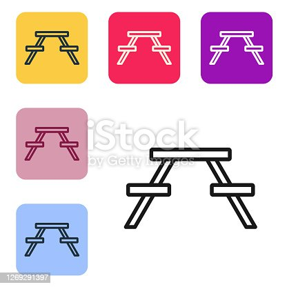 Black line Picnic table with benches on either side of the table icon isolated on white background. Set icons in color square buttons. Vector Illustration
