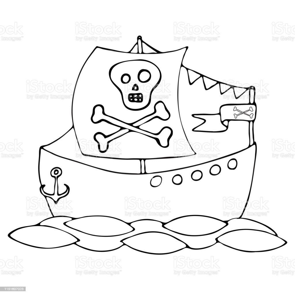 Ilustración De Barco Pirata De Línea Negra Para Colorear