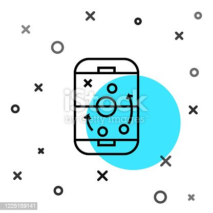 istock Black line Planning strategy concept icon isolated on white background. Hockey cup formation and tactic. Random dynamic shapes. Vector Illustration 1225159141