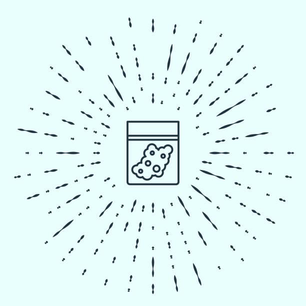 bildbanksillustrationer, clip art samt tecknat material och ikoner med svart linje plastpåse med medicinsk cannabisikon isolerad på grå bakgrund. hälsofara. abstrakt cirkel slumpmässiga prickar. vektor illustration - amphetamine pills
