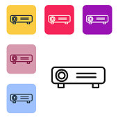 Black line Presentation, movie, film, media projector icon isolated on white background. Set icons in color square buttons. Vector Illustration