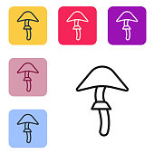 Black line Psilocybin mushroom icon isolated on white background. Psychedelic hallucination. Set icons in color square buttons. Vector Illustration