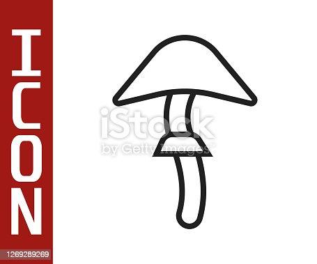 istock Black line Psilocybin mushroom icon isolated on white background. Psychedelic hallucination. Vector Illustration 1269289269