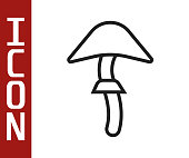 Black line Psilocybin mushroom icon isolated on white background. Psychedelic hallucination. Vector Illustration