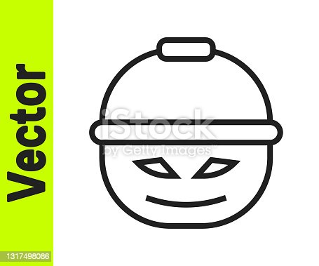 istock Black line Pumpkin basket for sweets icon isolated on white background. Happy Halloween party. Vector 1317498086