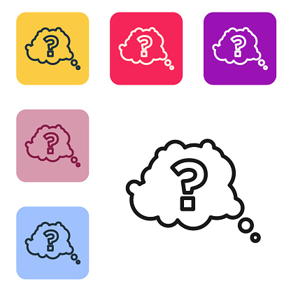 Black line Question mark icon isolated on white background. FAQ sign. Copy files, chat speech bubble and chart. Set icons in color square buttons. Vector