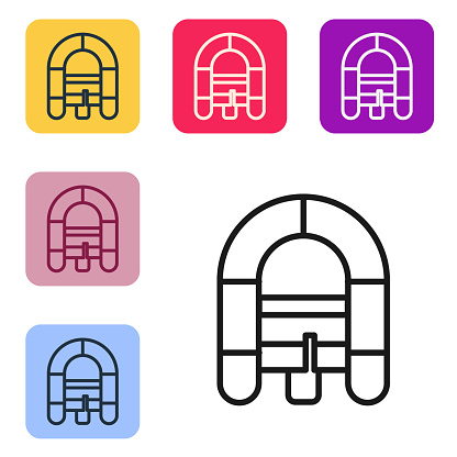 Black line Rafting boat icon isolated on white background. Inflatable boat. Water sports, extreme sports, holiday, vacation. Set icons in color square buttons. Vector Illustration