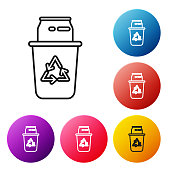 Black line Recycle bin with recycle symbol and can icon isolated on white background. Trash can icon. Garbage bin sign. Recycle basket sign. Set icons colorful circle buttons. Vector Illustration