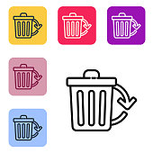 Black line Recycle bin with recycle symbol icon isolated on white background. Trash can icon. Garbage bin sign. Recycle basket sign. Set icons in color square buttons. Vector Illustration