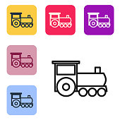 Black line Retro train icon isolated on white background. Public transportation symbol. Set icons in color square buttons. Vector Illustration