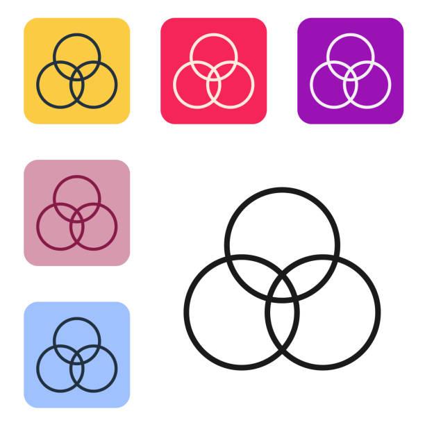 illustrazioni stock, clip art, cartoni animati e icone di tendenza di icona di miscelazione dei colori rgb e cmyk della linea nera isolata su sfondo bianco. impostare le icone nei pulsanti quadrati a colori. illustrazione vettoriale - huế