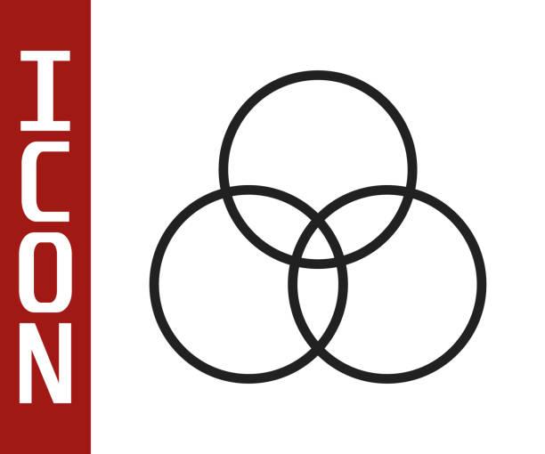 illustrazioni stock, clip art, cartoni animati e icone di tendenza di icona di miscelazione dei colori rgb e cmyk della linea nera isolata su sfondo bianco. illustrazione vettoriale - huế