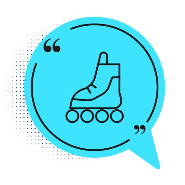 ilustrações, clipart, desenhos animados e ícones de linha preta ícone de patins de patins isolado no fundo branco. símbolo de bolha de fala azul. ilustração vetorial - ícones de design planar