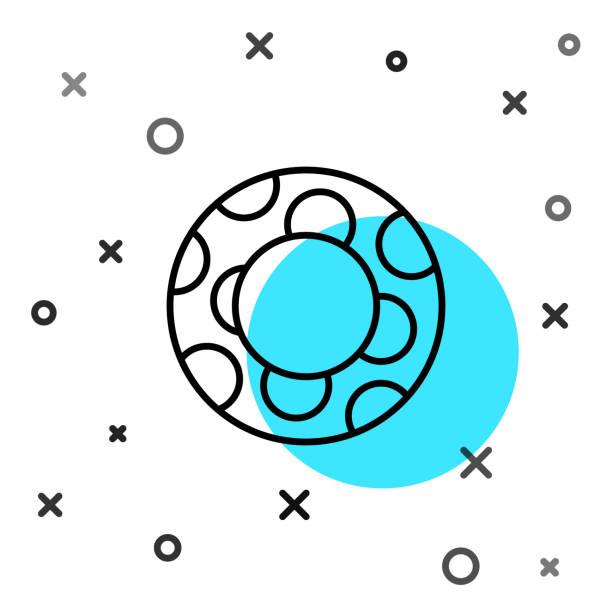 bildbanksillustrationer, clip art samt tecknat material och ikoner med svart linje gummi simning ring ikon isolerad på vit bakgrund. livräddande flytande livboj för stranden, räddningsbälte för att rädda människor. slumpmässiga dynamiska former. vektor illustration - inflatable ring