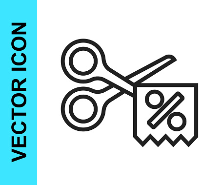 Black line Scissors cuts discount coupon icon isolated on white background. The concept of selling in an online supermarket at low prices or half the cost. Vector
