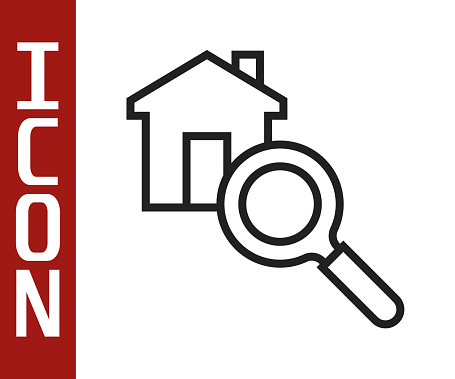Black line Search house icon isolated on white background. Real estate symbol of a house under magnifying glass. Vector
