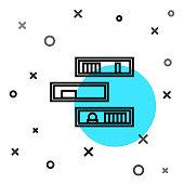 Black line Shelf with books icon isolated on white background. Shelves sign. Random dynamic shapes. Vector Illustration