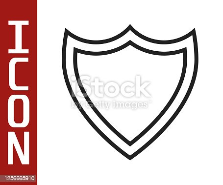 istock Black line Shield icon isolated on white background. Guard sign. Security, safety, protection, privacy concept. Vector Illustration 1256665910