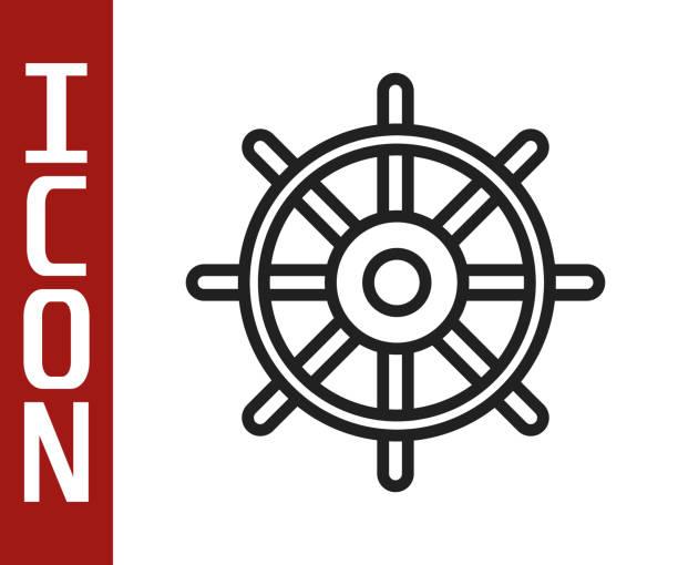 Black line Ship steering wheel icon isolated on white background. Vector Illustration Black line Ship steering wheel icon isolated on white background. Vector Illustration adventure clipart stock illustrations