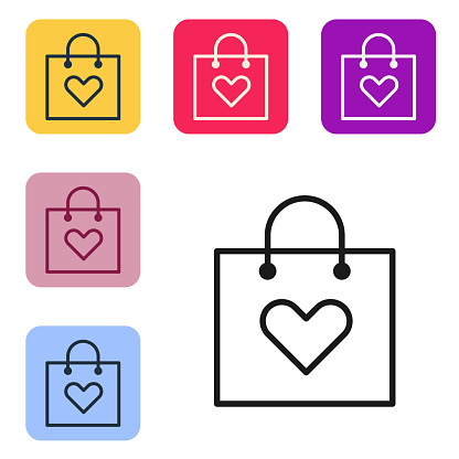 Black line Shopping bag with heart icon isolated on white background. Shopping bag shop love like heart icon. Valentines day symbol. Set icons in color square buttons. Vector Illustration