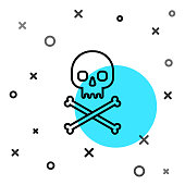 Black line Skull on crossbones icon isolated on white background. Random dynamic shapes. Vector Illustration
