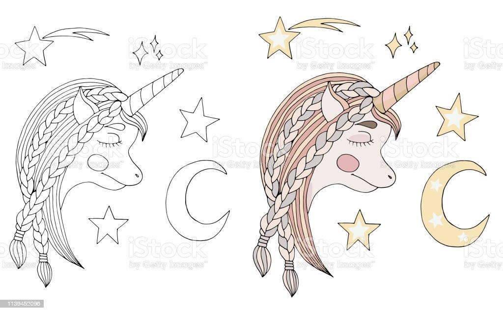 Siyah Cizgi Uyku Unicorn Uzun Sacli Ay Ve Boyama Kitabi Veya