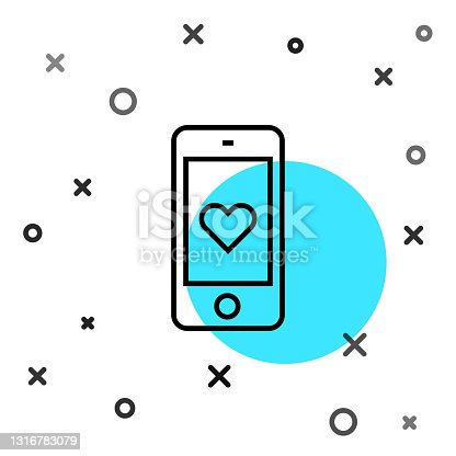 istock Black line Smartphone with heart emoji speech bubble get message on screen icon isolated on white background. Valentines day. Random dynamic shapes. Vector 1316783079