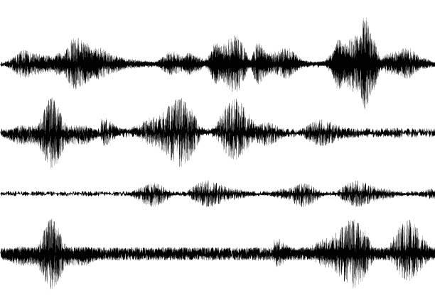 black line soundwave effect - sound wave stock illustrations