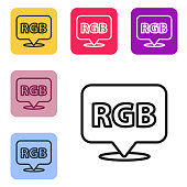 Black line Speech bubble with RGB and CMYK color mixing icon isolated on white background. Set icons in color square buttons. Vector Illustration