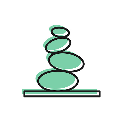 Black line Stack hot stones icon isolated on white background. Spa salon accessory. Vector