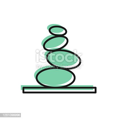 istock Black line Stack hot stones icon isolated on white background. Spa salon accessory. Vector 1251096996