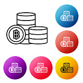 Black line Stacks paper money cash icon isolated on white background. Money banknotes stacks. Bill currency. Set icons colorful circle buttons. Vector Illustration