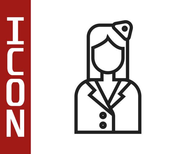 stockillustraties, clipart, cartoons en iconen met zwarte lijn het pictogram van de stewardess dat op witte achtergrond wordt geïsoleerd. vectorillustratie - stewardess