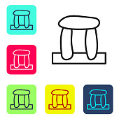 Black line Stonehenge icon isolated on white background. Set icons in color square buttons. Vector.