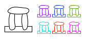 Black line Stonehenge icon isolated on white background. Set icons colorful. Vector.