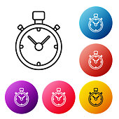 Black line Stopwatch icon isolated on white background. Time timer sign. Chronometer sign. Set icons colorful circle buttons. Vector Illustration
