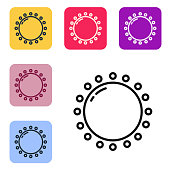 Black line Sun icon isolated on white background. Summer symbol. Good sunny day. Set icons in color square buttons. Vector Illustration